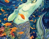 Damselfish Dance - Matted Digital Print of Dancing Mermaid Watercolor - 11x14 inches