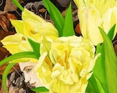 Under Mast matted digital print of tulip fairy watercolor 11x14 inches