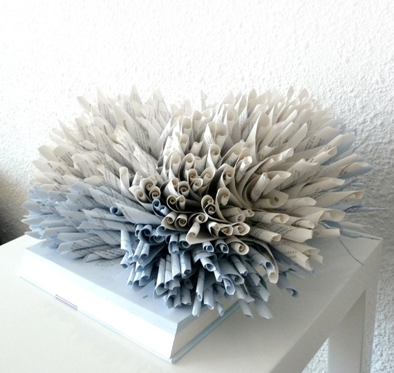 Book art sculpture blue coral