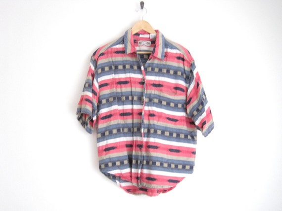 1990s oversized shirt // chambray button down // southwestern print