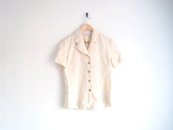 vintage cream silk shirt with button front