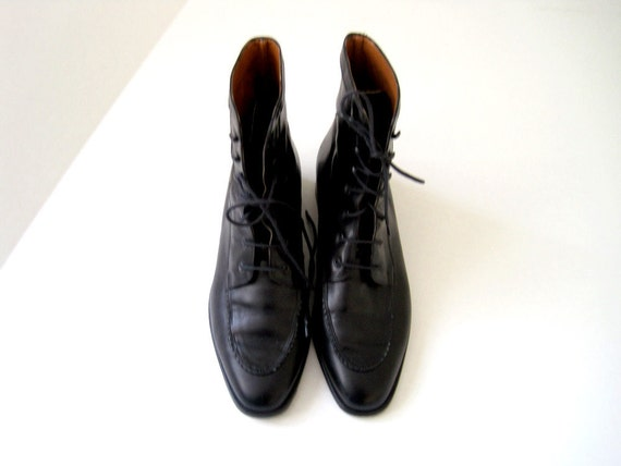 vintage bally of switzerland black leather lace up boots
