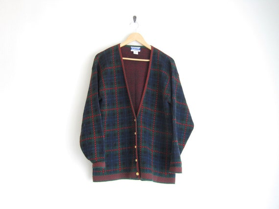 vintage pendleton cardigan // wool knit sweater // oversized cardigan // tartan