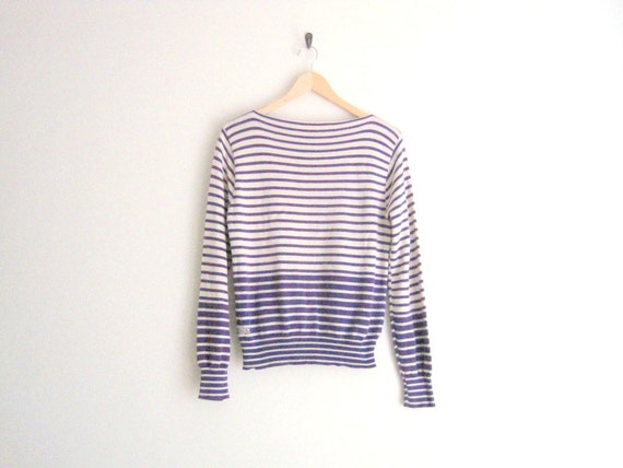 vintage izod lacoste striped sweater // boatneck shirt // purple knit top