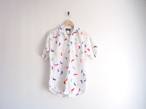 sale - vintage novelty print shirt with button down / whimisical fun brushstroke print shirt