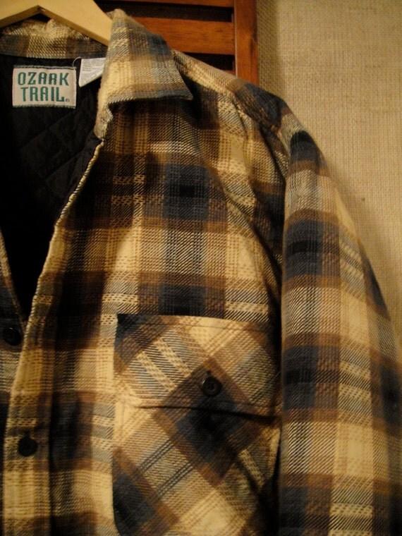 80s Ozark Trail Mens XL Quilt Lined Flannel Jacket