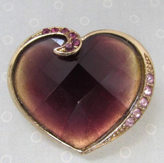 Vintage Brooch Heart with Rhinestones