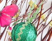 Green sparkly ribbon St. Patrick's day ornament