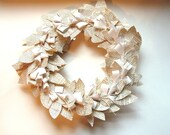 FREE SHIPPING Vintage Paper Lily Leaf  Wreath