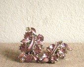 glamorous vintage pink floral clip on earrings