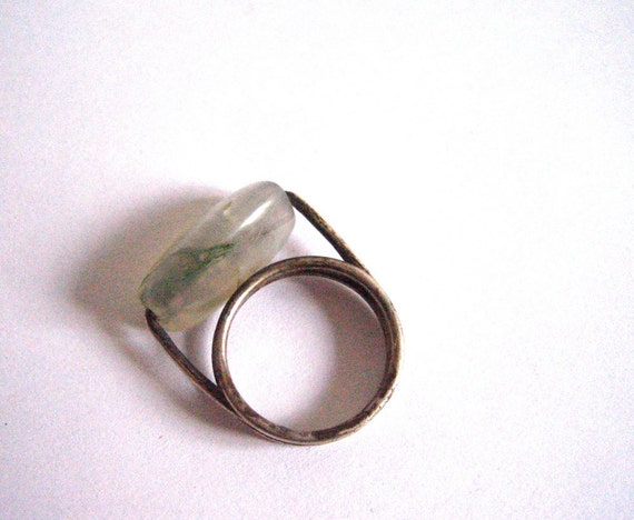 vintage moss agate ring