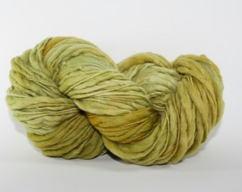 Thick and Thin Yarn Slub TTS(tm) Handdyed  Fine Merino 6624 Moss