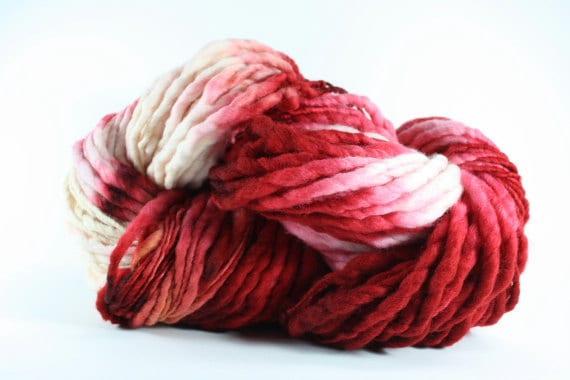 Thick Thin Merino Yarn TTS Handdyed Fine 5581 Candy Cane