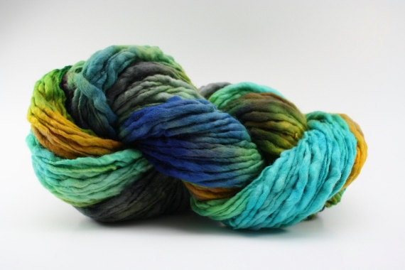 Thick and Thin Yarn Slub TTS Handdyed  Fine Merino 6647 Key Largo