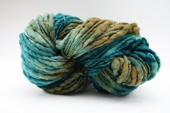 TTS Handdyed Thick and Thin Slub Yarn Fine Merino 5587 Blue Fescue