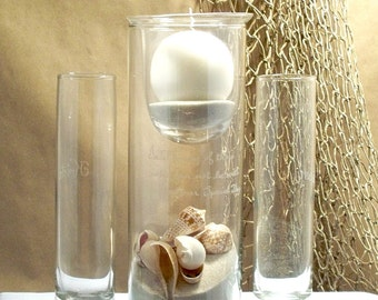 """Personalized Unity Sand Ceremony  Set """"Cylinder with Round Candle"""" style"""