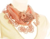 OOAK Cotton Scarf. Powder Pink. Hand Drawing.