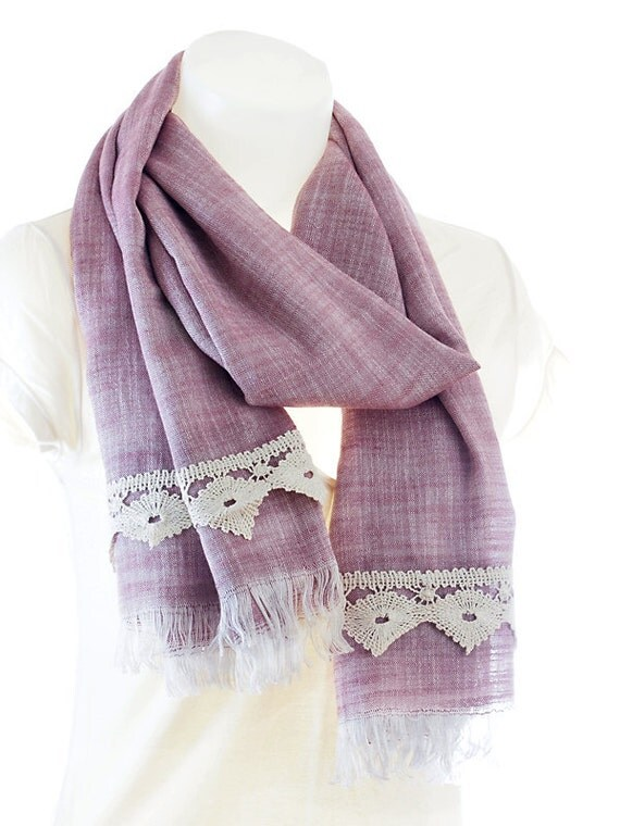 Linen Shawl / Scarf. Lavender Pink. Cream Guipure.