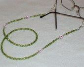 30 inch Spring Green Citrine and Pink Crystal Beaded Eyeglass Sunglass Chain ID Badge Loop Lanyard