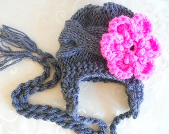 Knit Baby Hat With Flower - Baby Girl Knit Hat - Baby Ear Flap Hat Grey and Hot Pink