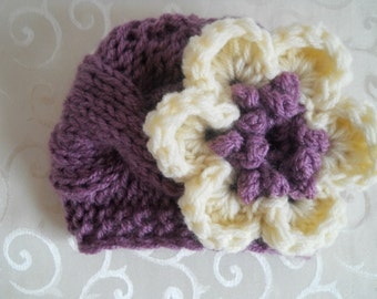 Baby Knit Hat - Baby Girl Knit Hat Purple and Cream