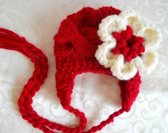 Newborn Baby Girl Hat  - Hand Knitted Baby Hat - Baby Girl Knit Hat