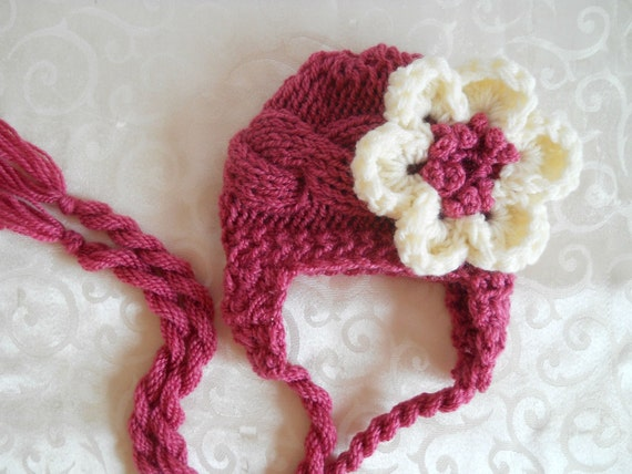 Baby Hat Flower, Newborn Baby Girl Hat, Newborn Hat Photo Prop Baby, Newborn Earflap Hat