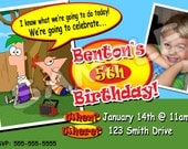 Phineas and Ferb Birthday Personalized Digital Photo Invitation