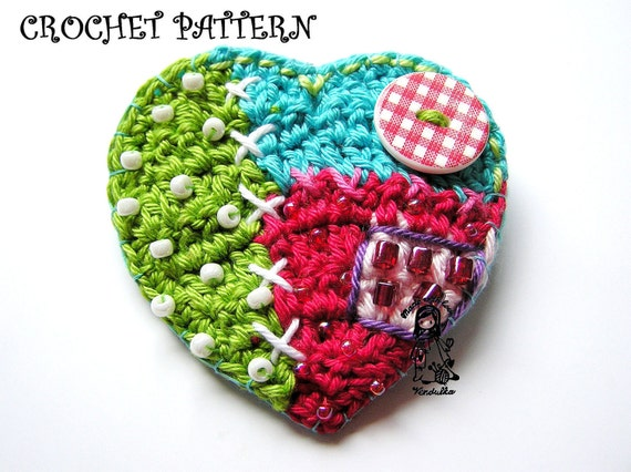 Crochet pattern - patchwork heart, DIY
