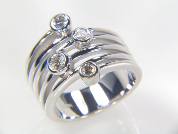 Diamond Ring- Stack Diamond Ring - 4 Diamond Ring - White gold diamond Ring