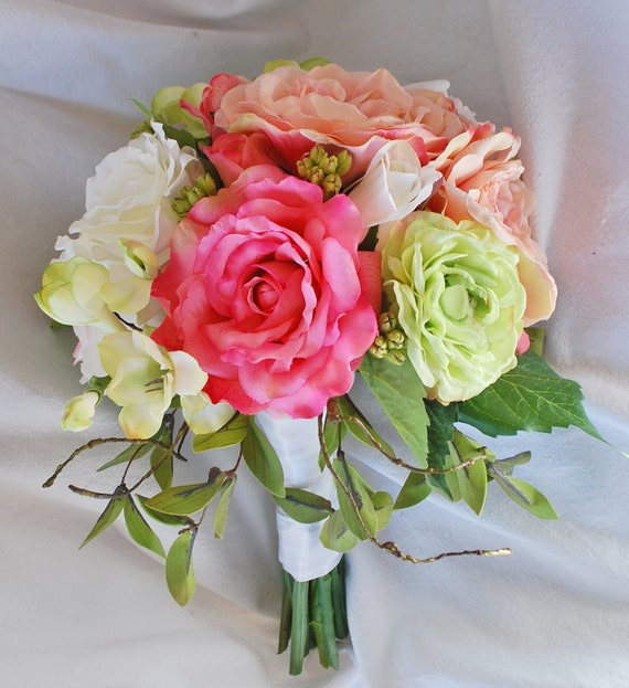 Silk Pink Peony Rose and Apple Green Bridal Bouquet