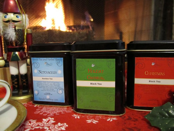 Christmas Tea Sampler Set of 3 small tins