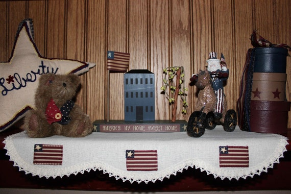 Country Primitive Americana Runner Mantel Shelf Scarf in various styles