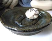 Stoneware Soap Dish Blue & Earthy Greens