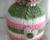 Pink White and Green Stiped Baby Girl Hat  with big Pom Pom