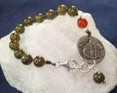 Green Garnet Sterling Silver Turtle Charm Bracelet with Carnelian