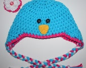 0 to 3 mos, Blue Bird Earflap Tassle Hat, Detachable Flower, Ready to Ship, Photo Prop