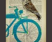 Owl on turquoise bicycle - ORIGINAL ARTWORK Mixed Media, Hand Painted  on 1900 famous Parisien Magazine 'La Petit Illustration' by Coco De Paris