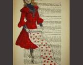 Love letter- ORIGINAL ARTWORK Hand Painted Mixed Media on 1896 famous Parisien Magazine 'La Petit Illustration' by Coco De Paris