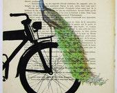 Peacock on black bicycle - ORIGINAL ARTWORK Mixed Media, Hand Painted  on 1921 famous Parisien Magazine 'La Petit Illustration' by Coco De Paris