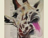 Funny giraffe- Original Illustration-Art Print-Art Poster- Hand Painting Mixed Media- French 1920 Vintage Paper