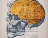 Painted portrait ORIGINAL ARTWORK Hand Painted Mixed Media on 1920 famous Parisien Magazine 'La Petit Illustration': Golden brains