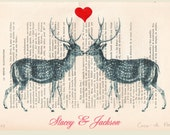 Your names with 2 kissing deer - ORIGINAL personalized ARTWORK Mixed Media, Hand Painted  on 1920 Magazine 'La Petit Illustration' xyz