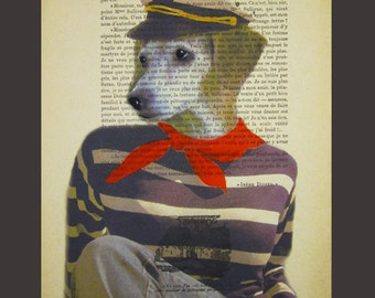 Sailor dog- ORIGINAL ARTWORK  Mixed Media, Hand Painted on 1920 famous Parisien Magazine 'La Petit Illustration' xyz