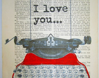 Typographic Print, Digital Print Typography: Your own message with red typewriter-ORIGINAL personalized ARTWORK