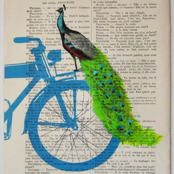 Peacock on blue bicycle - ORIGINAL ARTWORK Mixed Media, Hand Painted  on 1920 Parisien Magazine 'La Petit Illustration' by Coco De Paris