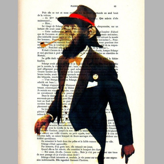 Monsieur Be Cool-Original Illustration Art Print Art Poster Hand Painting Mixed Media French Vintage 1920 Paper x