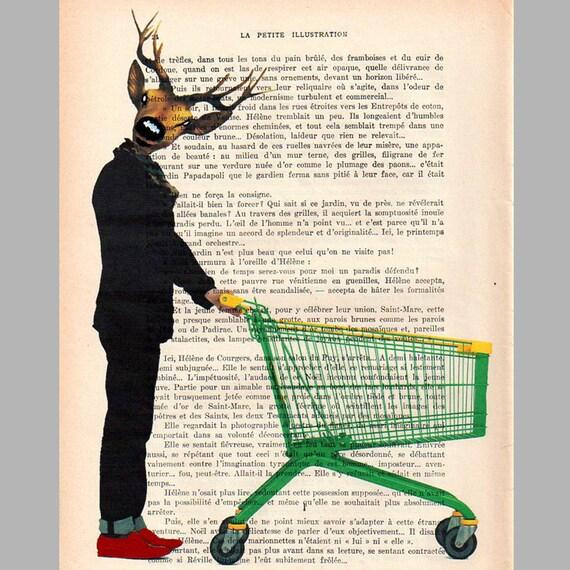 Supermarket deer - Original Illustration-Art Print-Art Poster- Hand Painting Mixed Media- French 1920 Vintage Paper