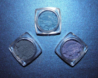 THE BLUES 3pc Eye Shadow Set Minerals Organic Vegan All Natural Hand Crafted Eyes Nails