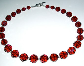 SALE - Burgundy Large Round Crystal Necklace